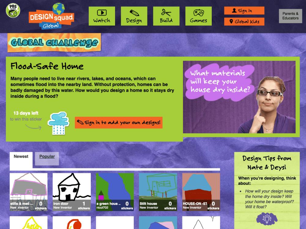 Design Squad challenge screen shot. WGBH 2016