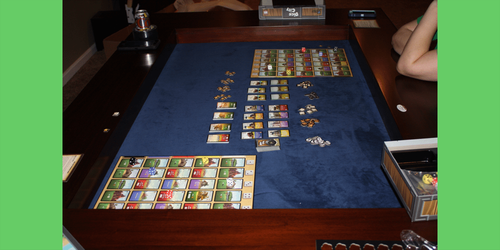 Dice City from AEG set up on the table. Photo by Gerry L Tolbert.