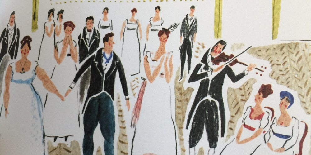 A watercolor of a Regency era ball. Photo: Jenny Bristol