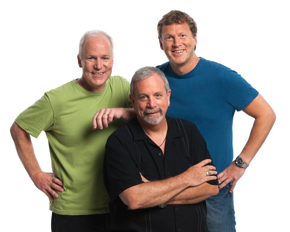 The regular cast of RiffTrax: Bill Corbett, Michael J. Nelson, and Kevin Murphy