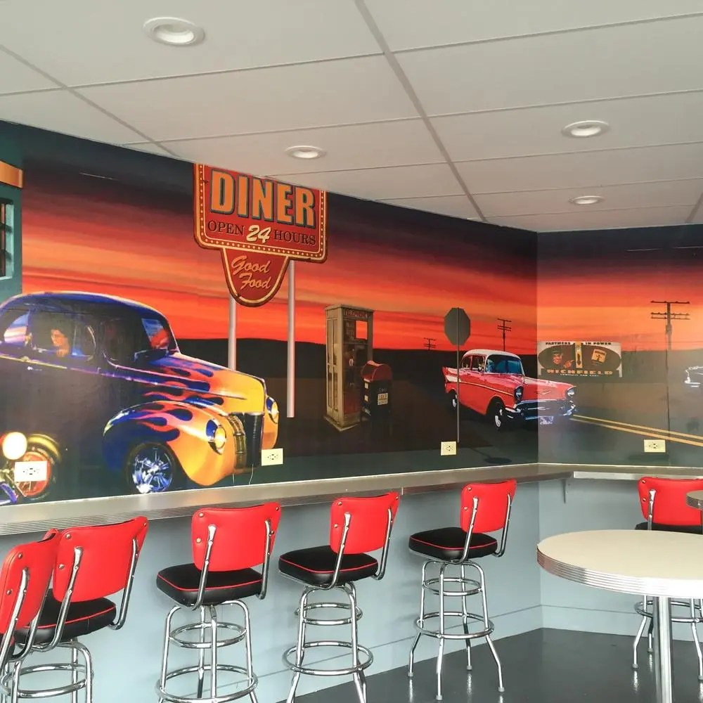1950s diner eating area, Six Flags New England. Photo by Corrina Lawson