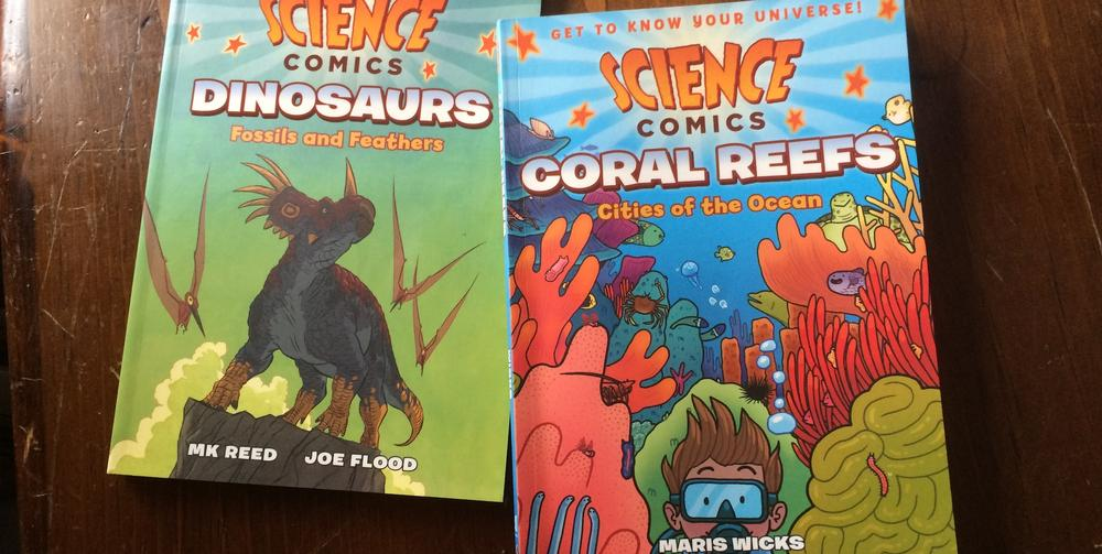 'Science Comics': 'Coral Reefs' and 'Dinosaurs'