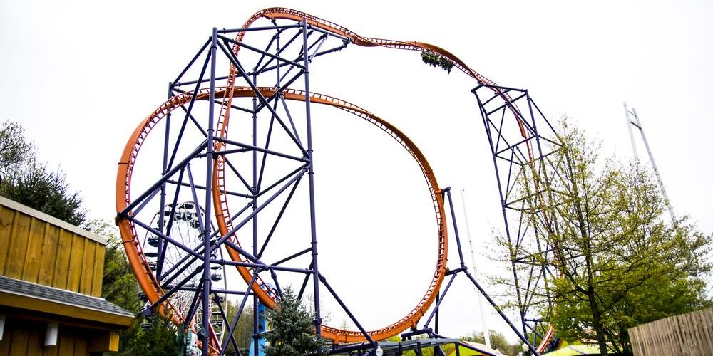 The inversion, 150 feet in the air, on the Phobia Phear coaster. Image via Lake Compounce.