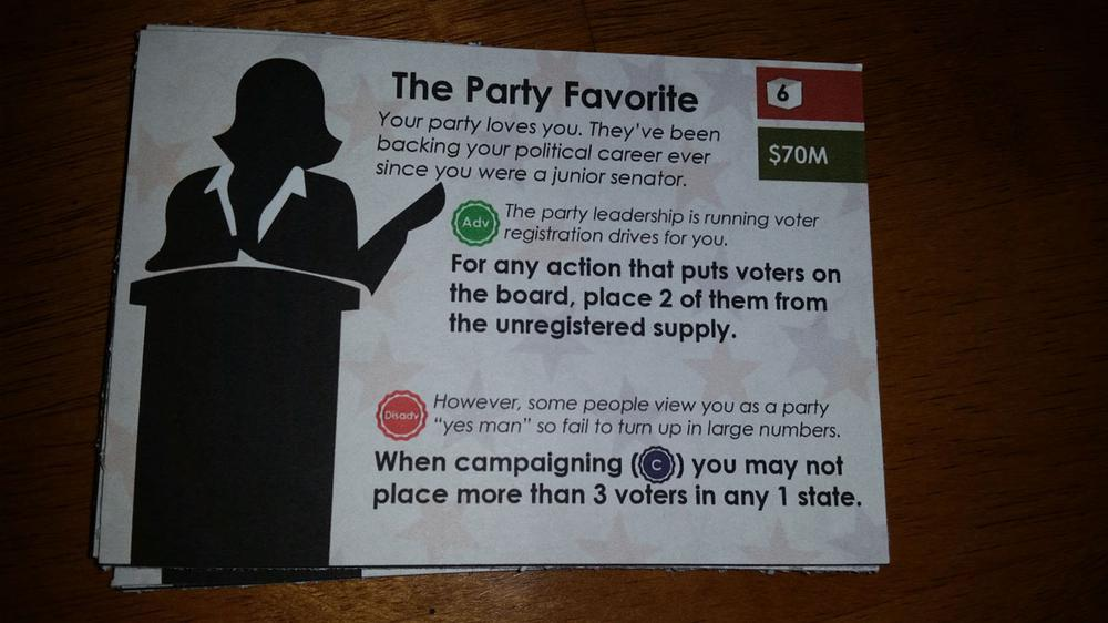 Campaign Trail prototype candidate card. Image by Rob Huddleston.