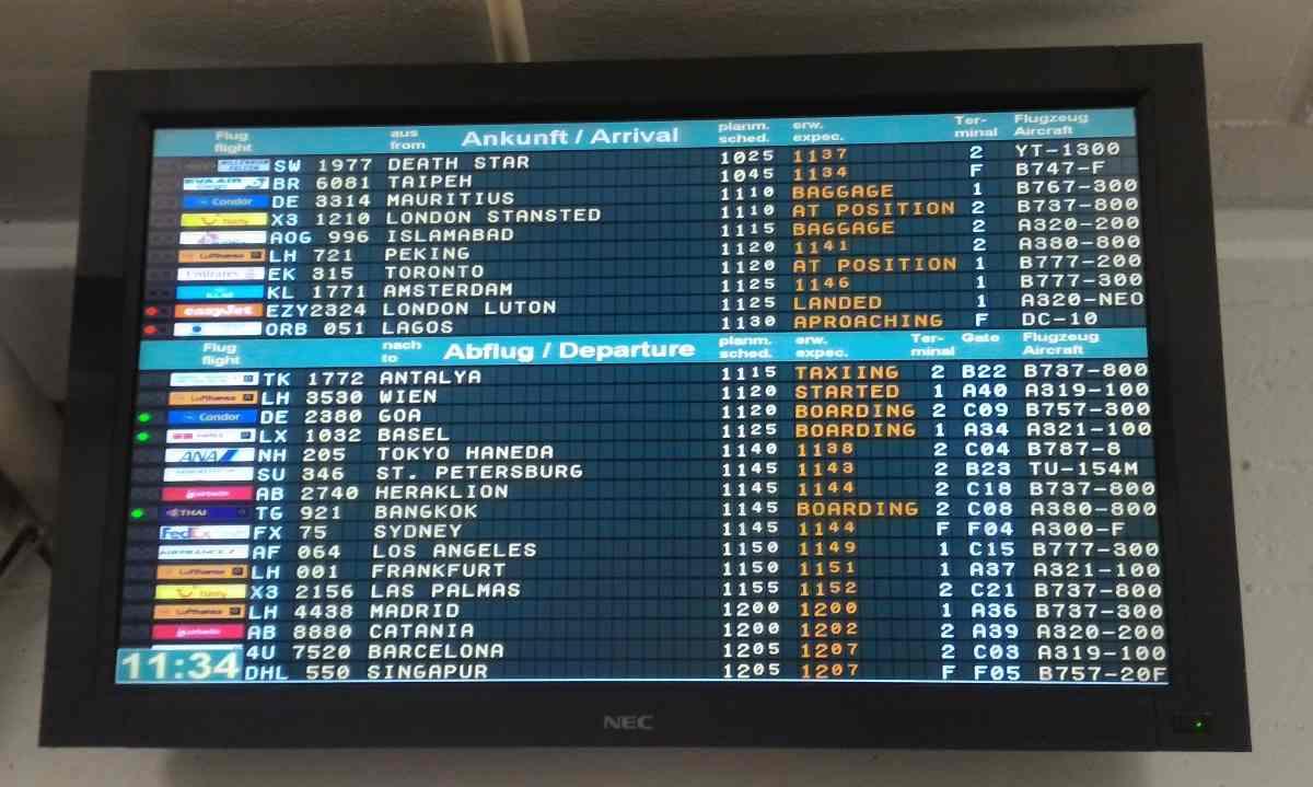 Miniatur Wunderland Airport Departure board