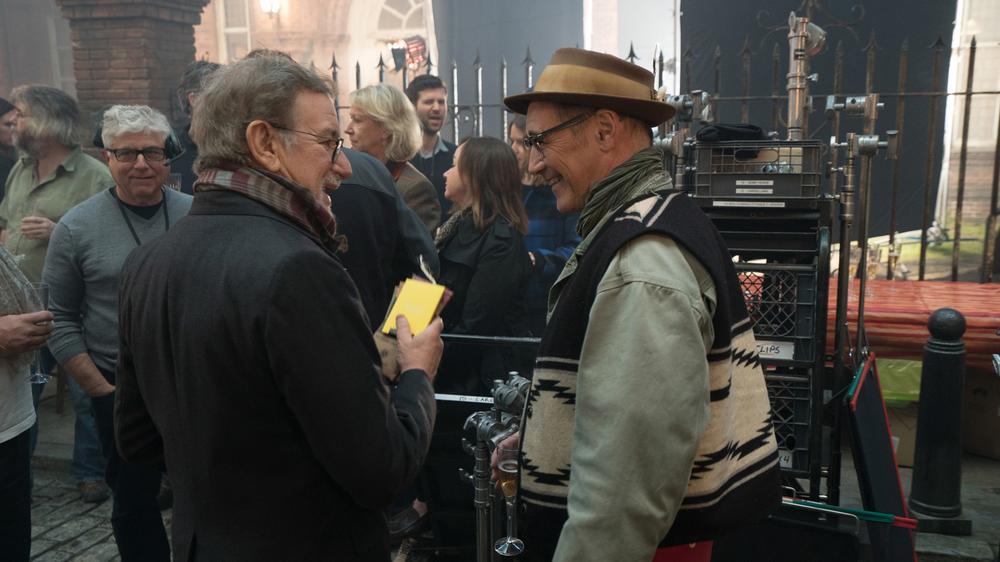Steven Spielberg and Mark Rylance on the set of Disney's THE BFG.
