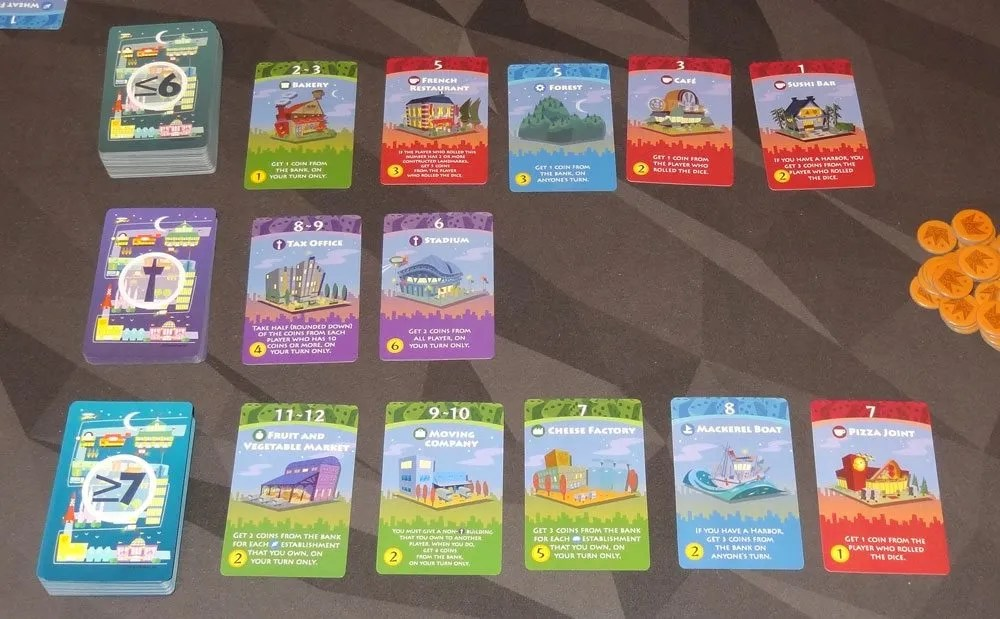 Machi Koro Bright Lights Big City setup