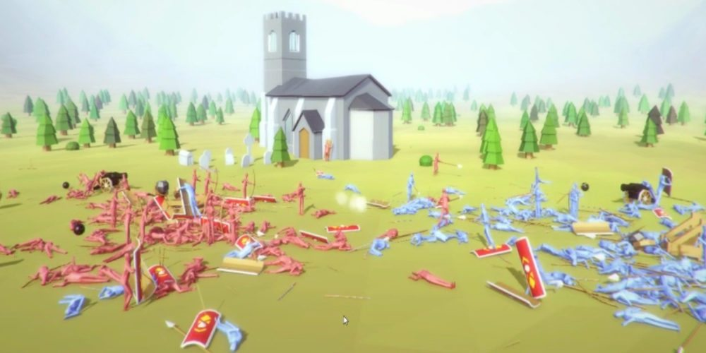 Battlefield full of dead abstract red and blue soldiers with googly eyes in Totally Accurate Battle Simulator