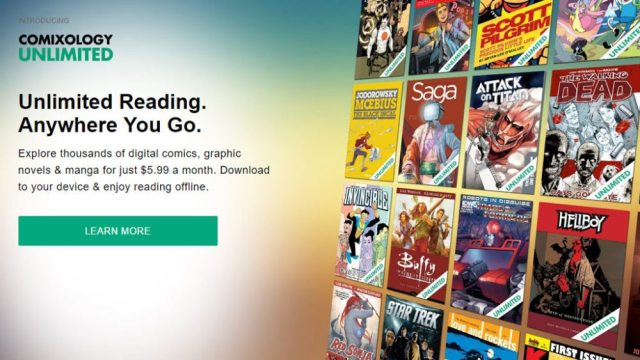 Comixology Unlimited promotion showing several comic titles
