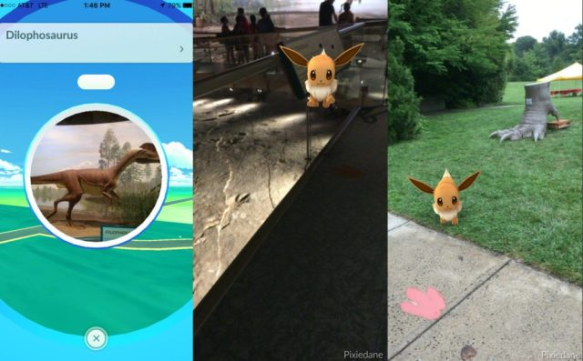 screen caps of Pokémon Go at Dinosaur State Park