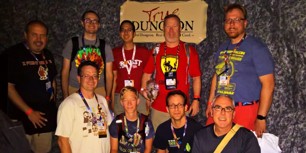 GeekDads having just (unsuccessfully) completed their True Dungeon adventure.