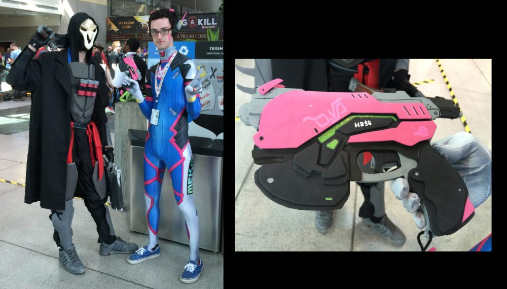 Costume play from PAX West 2016 showing Reaper and D.VA, plus a close-up of D.VA's handgun and how it was built from layers of foam.