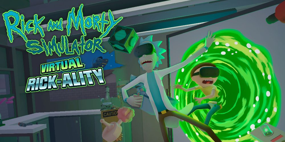The Rick and Morty Simulator logo with Rick and Morty stumbling out of a green portal into Rick's garage.