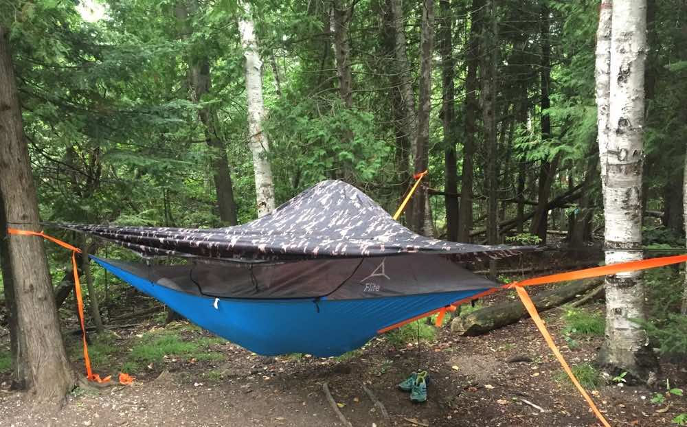 Flight tree tent holds two