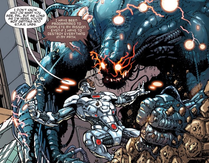 Cyborg in action. Image via DC Comics