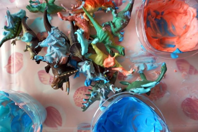 Shaving cream car wash for dinosaurs. Project from 150+ Screen-Free Activities for Kids. Photo by Jackie Reeve.