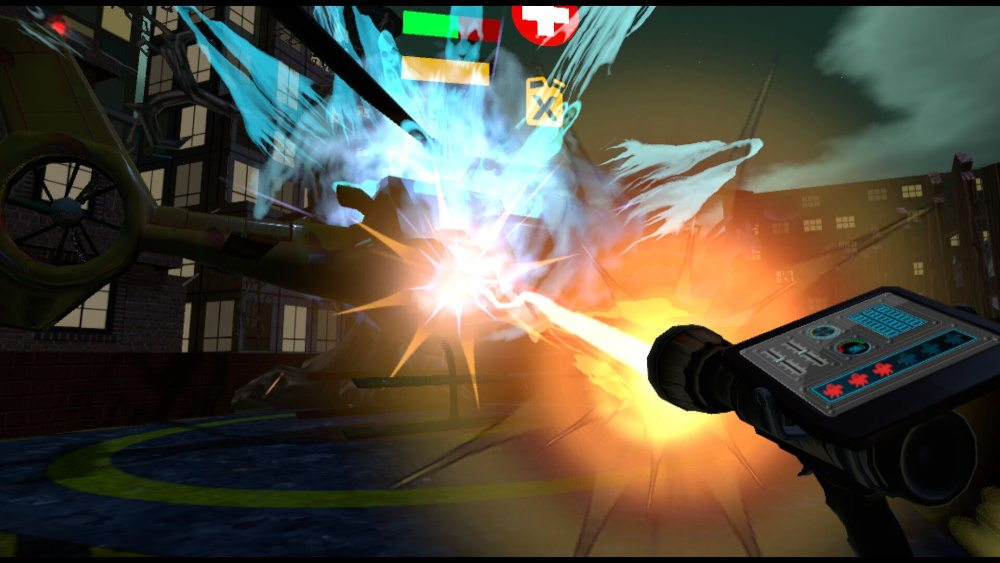 On top of a building in Metro City, the player aims a proton-pack-like weapon at a group of ghosts; a red energy beam streams towards the spectral spooks.