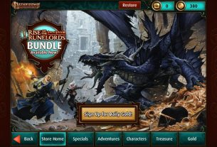 """The main screen of the in-app store showing the tabs: Store Home, Specials, Adventures, Characters, Treasure, and Gold. There is also a lit golden-colored button that says """"Sign up for daily gold"""". The background has a wizard and a fighter in combat with a giant blue dragon."""