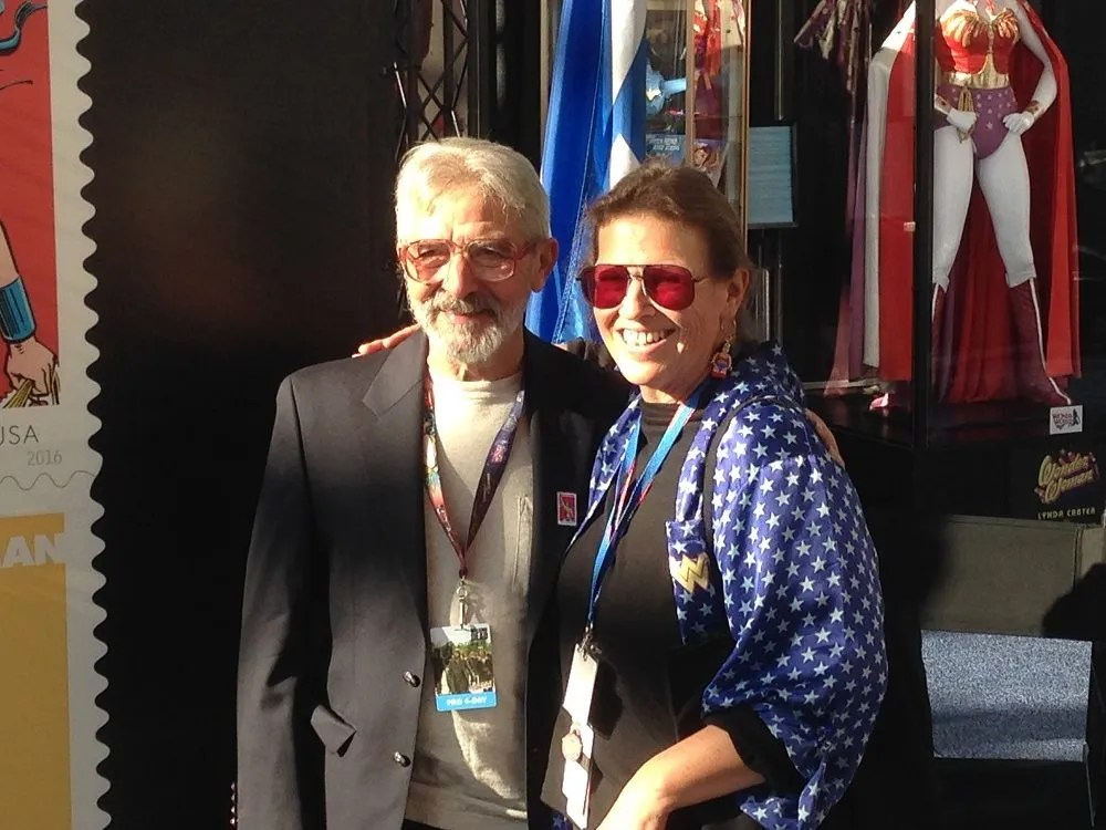 Jose Luis Garcia-Lopez with Christie Marston, the granddaughter of Wonder Woman's creator, William Moulston Marston