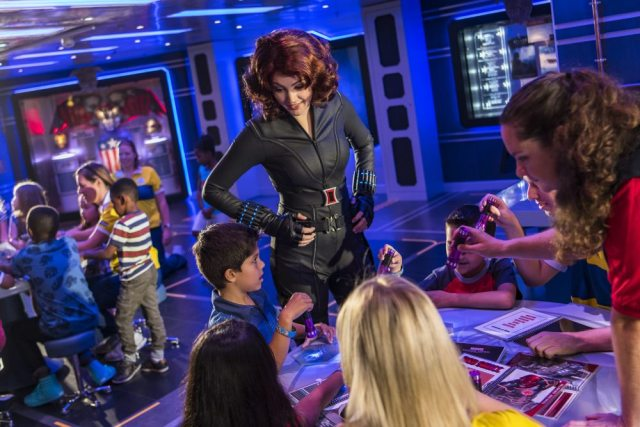 Black Widow mentors young guests to develop the brave and adventurous heroes inside them at the Marvel Super Hero Academy. (Matt Stroshane, photographer)