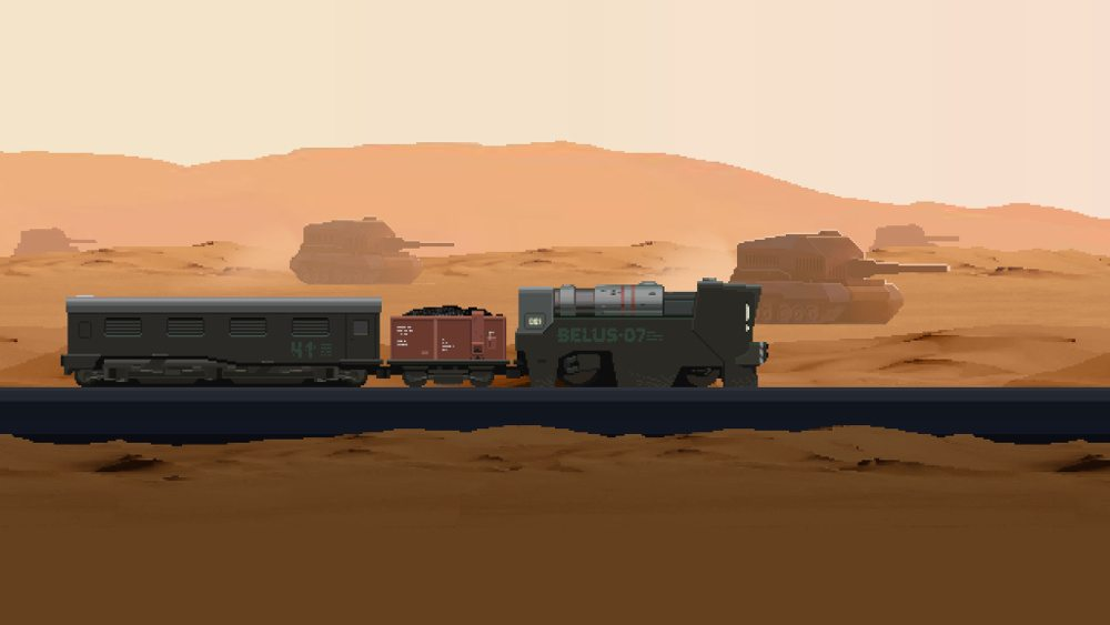 "A train labeled ""BELUS-07"" with a coal coar and passenger car travels on rails across a desert landscape, tanks in the distance, in 'The Final Station."""