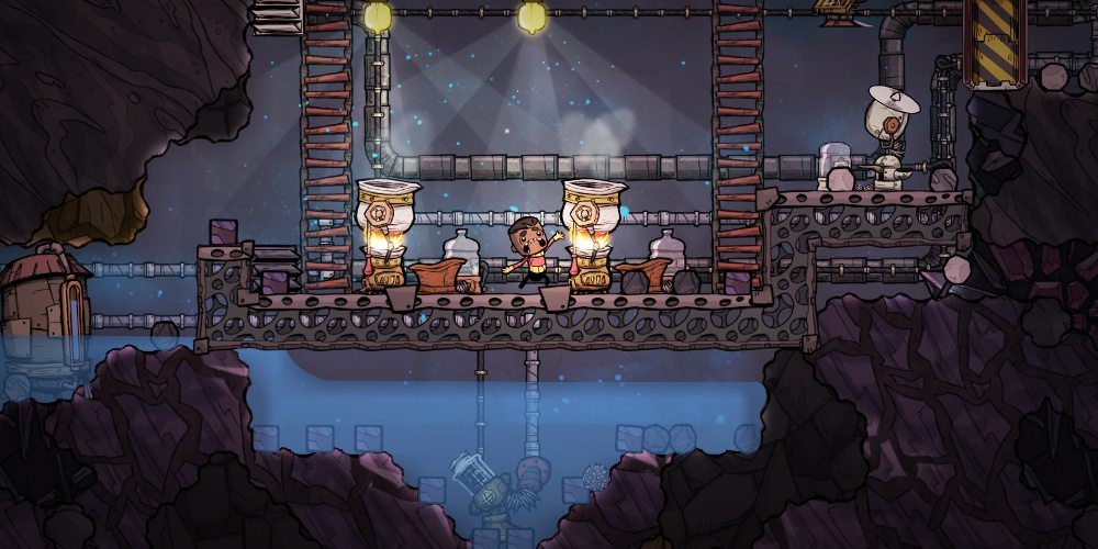 An unhappy duplicant in Oxygen Not Included, probably due to being too hot. He is standing between two machines that have fire coming out of them and he appears to be sweating and crying.