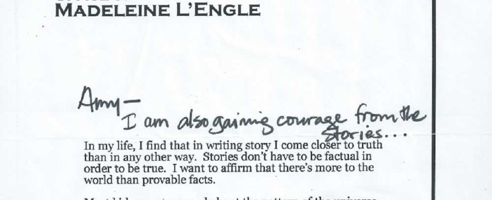 Excerpt from a letter by Madeleine L'Engle