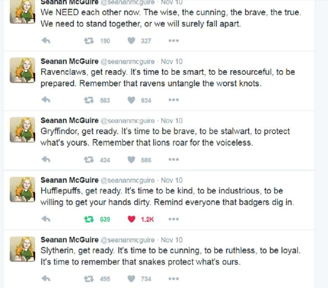 Seanan McGuire's Hogwarts House Tweets from 11-10-16