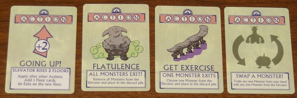 Monsters in the Elevator action cards