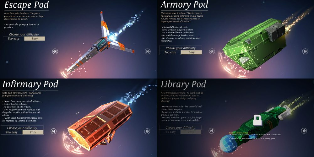Four spaceships from Dungeon of the Endless, with information on how they change the gameplay. One has a lock symbol on it, as it is not yet a player choice.
