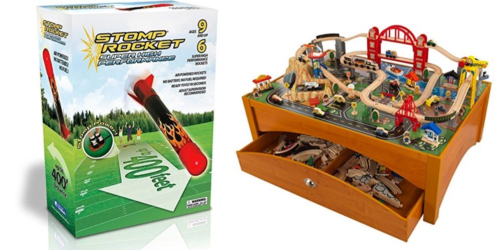 Get a Stomp Rocket for Fun and Physics; Complete Wooden Train Set and Play Table – Daily Deals!