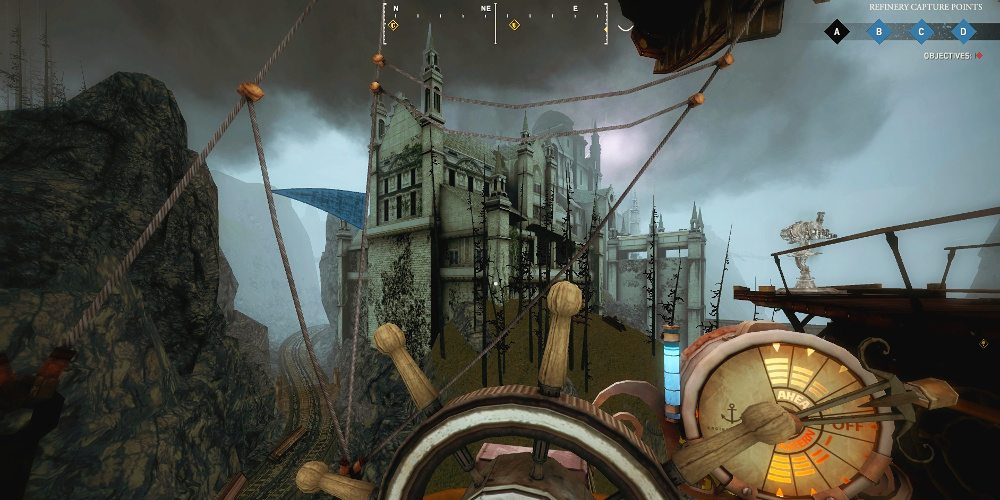 A creepy castle looms in the distance behind the airships' wheel in Guns of Icarus Alliance.