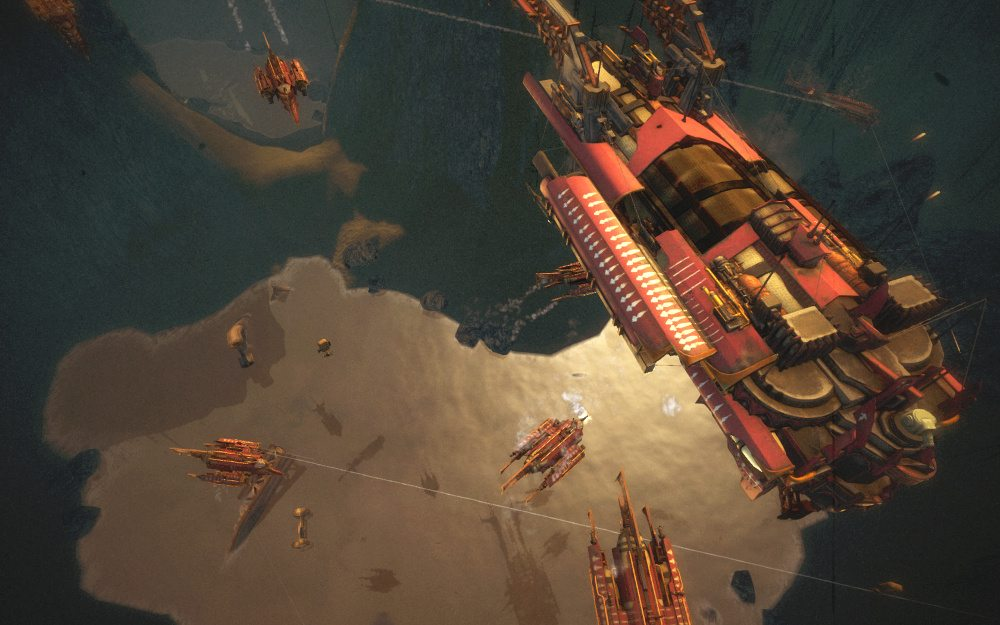 An overhead view of an airship engagement, showing combatants at various heights above the canyon floor.