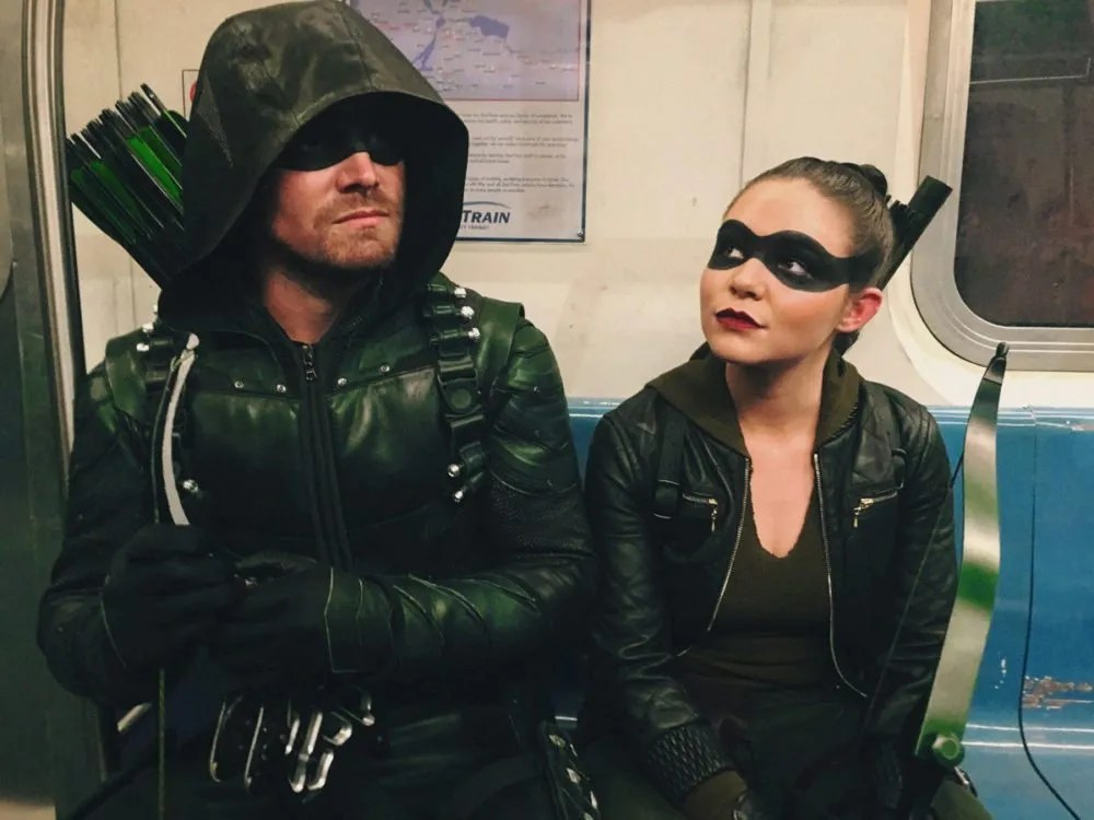 Oliver (Stephen Amell) and Evelyn (Madison McLaughlin) enjoy Star City's public transit system. Photo courtesy of Madison McLaughlin