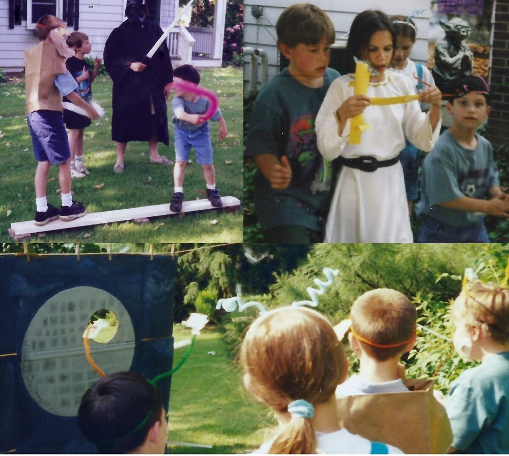 three photos of star wars party