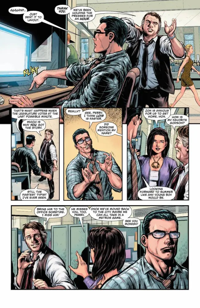 Lois & Clark plus Perry at the Daily Planet in Superman: Action Comics #977