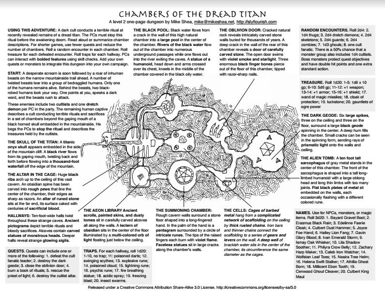 Dungeon Contest Sample - Chambers of the Dread Titan
