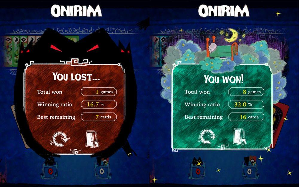 Onirim app result