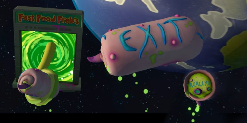 "A 'tasty chunk' hunk of meat with the word ""exit"" on it floats beside a ""Fast Food Freb's"" portal. Another half-eaten chunk floats beside with the word ""Really?"" written on its end."