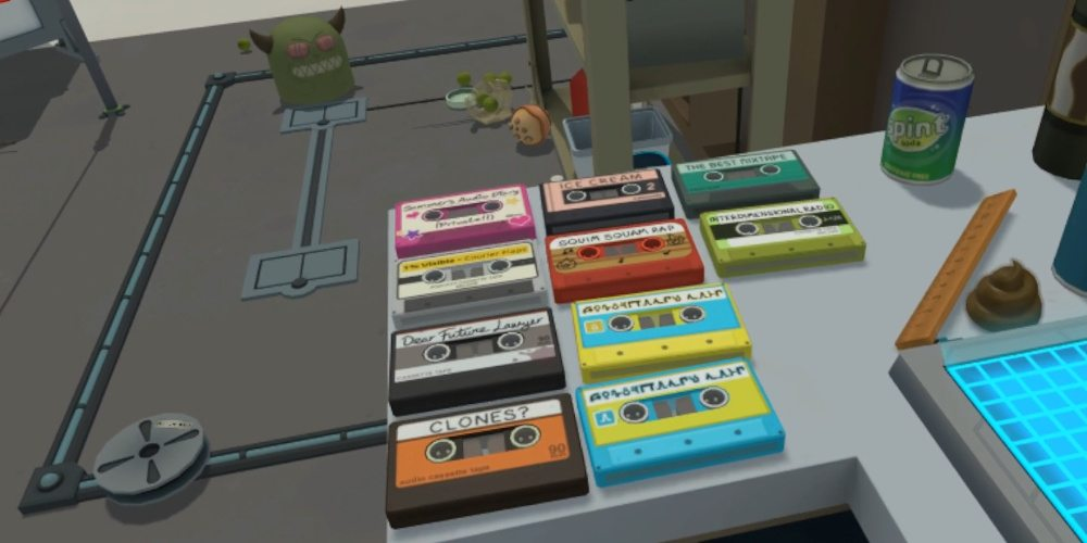 """A collection of 10 audio cassettes on the work bench in Rick's garage. Titles include """"Dear Future Lawyer"""", """"Clones"""", """"Ice Cream"""" and """"The Best Mix Tape""""."""