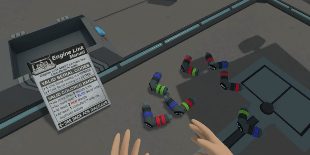Looking at the parts of an engine repair kit - a set of L-shaped double-ended spark plugs, and the repair instructions in Rick and Morty VR.