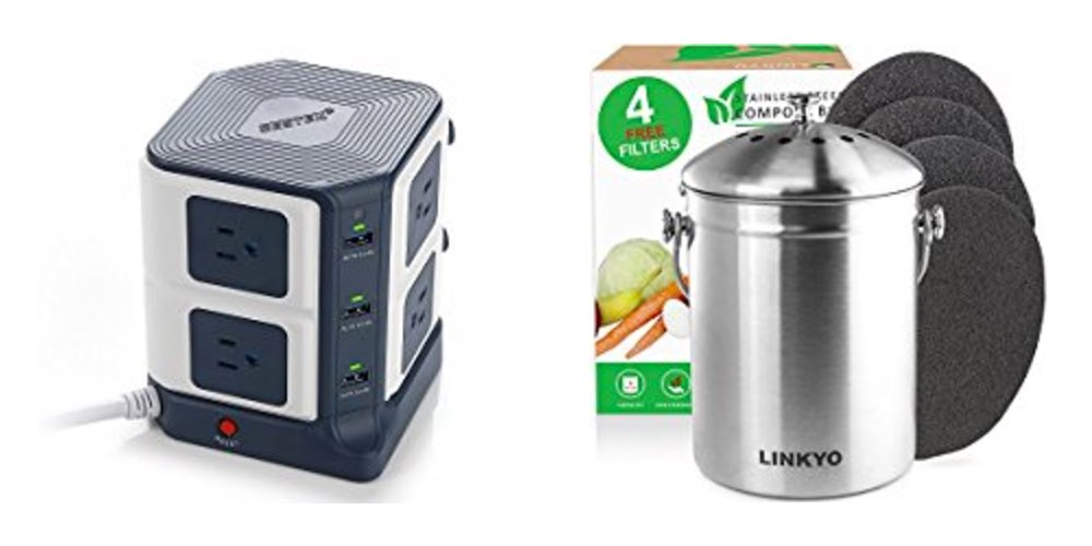 Get an 8-Outlet Surge Protector + USB for $32; Or a Kitchen Compost Bin for $15 – Daily Deals!