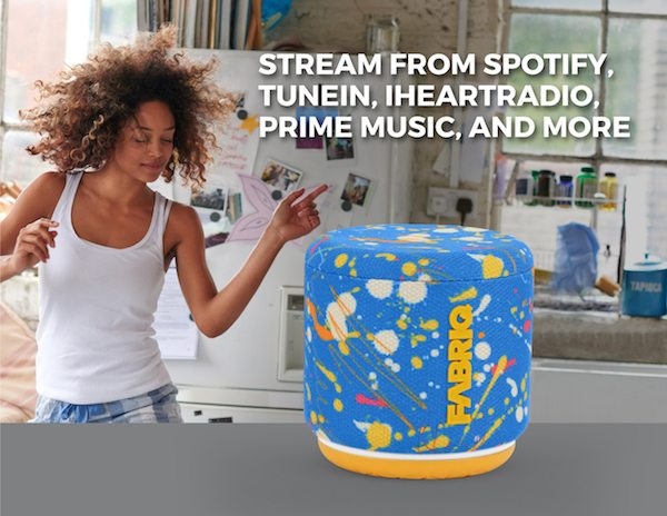 Woman dancing and Splat version of FABRIQ speaker with text describing ability to stream from Spotify, TuneIn, iHeartRadio, and Prime Music