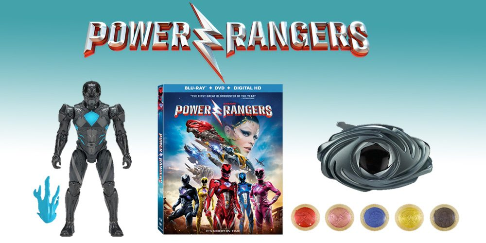 Power Rangers prize pack: Blue Ranger toy, Blu-Ray copy of the movie, and a power morpher toy.