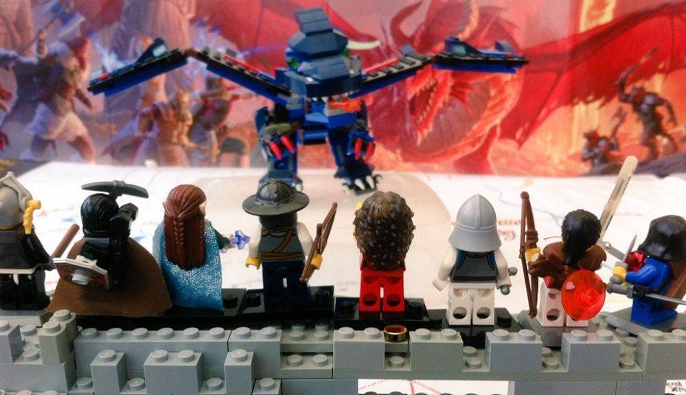 LEGO D&D blue dragon attacks