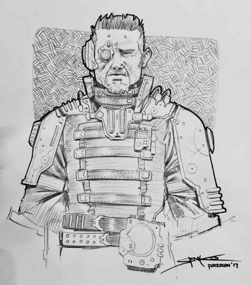 Me Drawn as a Starfinder Character