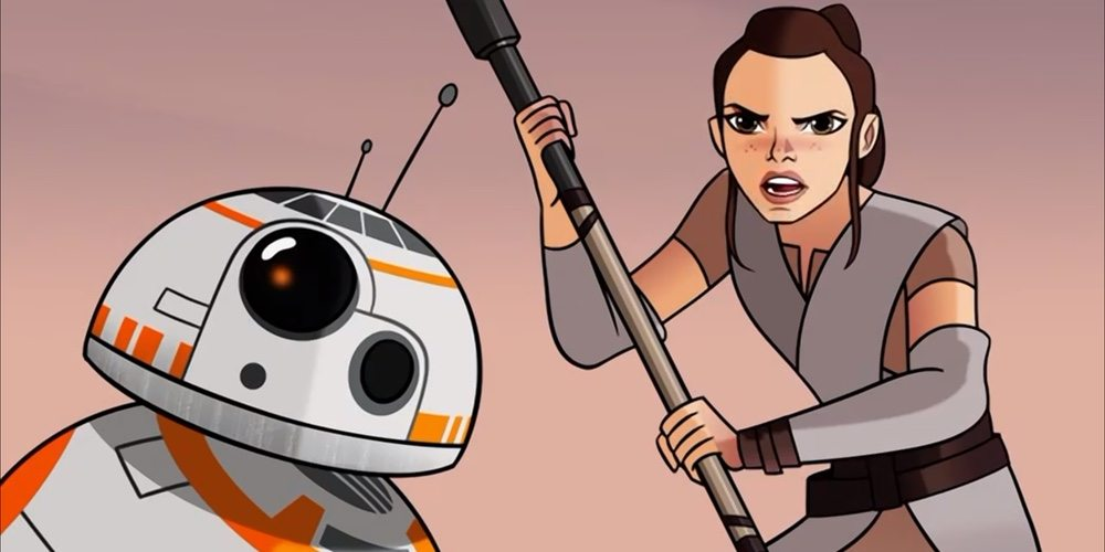 Rey and BB-8 Battle Creatures of Jakku in 'Star Wars: Forces of Destiny' Debut