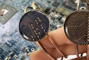 Copper bracelets with upcycled circuit boards from Circuit Breaker Labs.