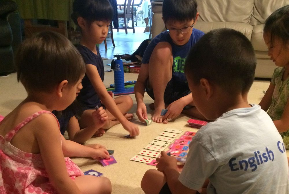 Kids playing Go Nuts for Donuts prototype