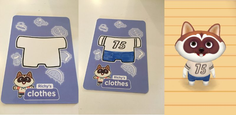 Middle: My Design For Richyu0027s Clothes (sports Jersey And Jeans). Right: How  Richy Appeared In App Once The Flashcard Was Scanned.